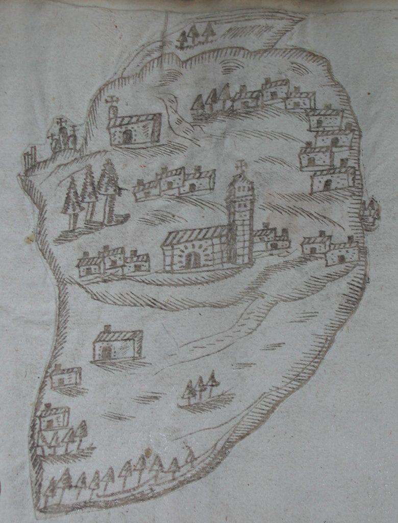 Mapa de Somontín en la copia de su archivo municipal del Catastro de la Ensenada