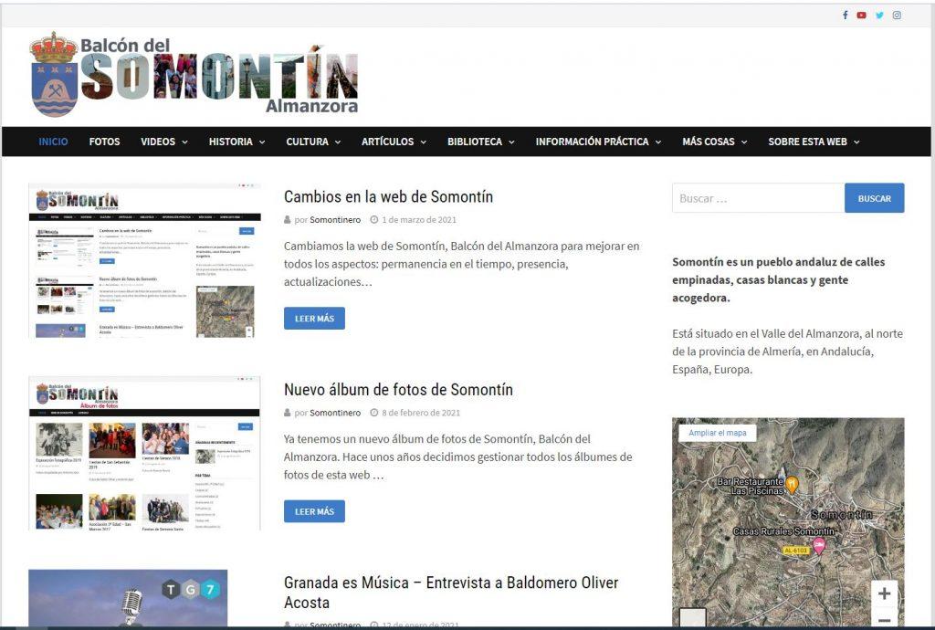 Nueva imagen tras los cambios en la web de Somontín
