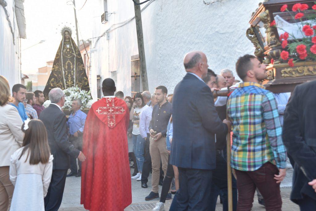 Procesión del Entierro el Viernes Santo a su paso por la Plaza del Mercado